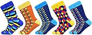 5 pares de calcetines de hombre diseño colorido algodón rayas geométricas rayas negocios masculinos casual feliz calcetines