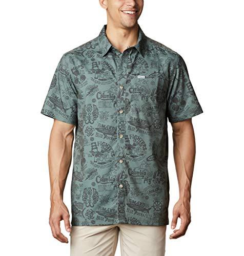 Columbia Herren Super Slack Tide Camp Shirt, Herren, Super Slack Tide Camp Shirt, Teich/Nautical Tales Print, 5X Big