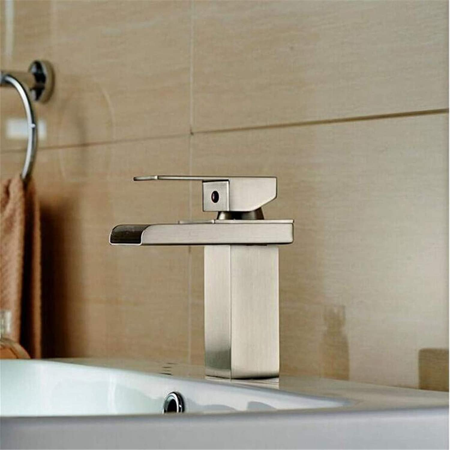 Faucet Blender Vintage Plated Kitchen Faucetfaucets Basin Mixer Nickel Basin Faucet Single Hole Hot Cold Water