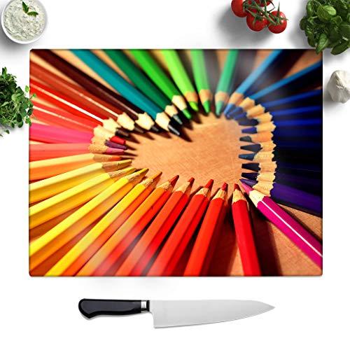 Big Box Art Getextureerde Glazen snijplank met Regenboog Gekleurde Crayon Potloden (1) Print | Small Worktop Protector | Serveerplateau, Multi, 27.5 x 19.5 cm