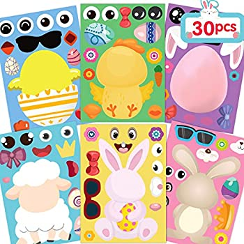 Joy Bang Easter Stickers for Kids Easter Games Make Your Own Easter Egg Bunny Stickers DIY Make a Face Sticker Sheets Easter Party Games for Family Schools Classroom Activities