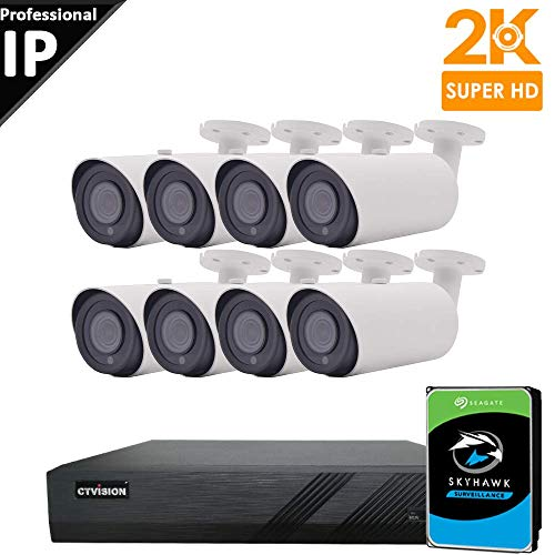 CTVISION UltraHD 5MP (2.5X1080P) Home Business Security Camera System,8-Channel PoE Video Security System(2TB),8pcs 5MP Outdoor Waterproof Nightvision 4X Zoom Motorized Auto Focus Bullet PoE IP Camera