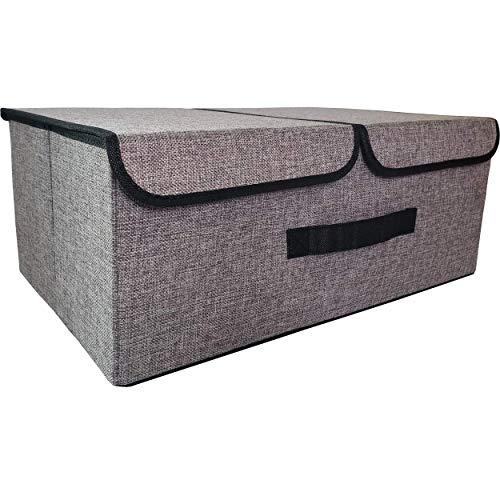 FAMILYS ODYSSEY Aufbewahrungsbox mit 2 Deckeln und Griff, Faltbare Aufbewahrungskiste für Spielzeug, Unterwäsche, Kosmetik, Kleinteile (Grau)
