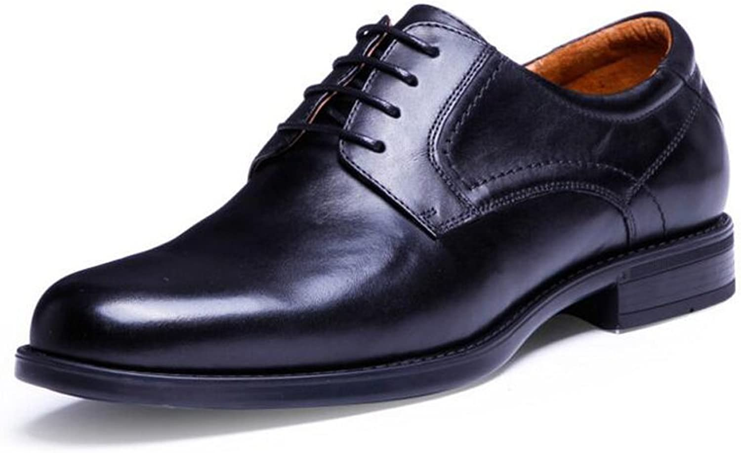SXZHSM Men's Toe Layer Leather Wedding shoes Dress shoes with Breathable British Pointed Fashion Business shoes 39-43 Yards Men's Leather Boots (color   Black, Size   42 EU)