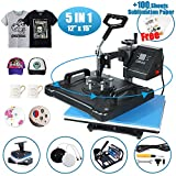 HikeGeek 5 in 1 Heat Press Machine 12'x 15' inch Professional Digital Transfer Sublimation Swing-Away for Hat Mug Plate Cap T-Shirt (12'x 15' (5 in 1) Swing Away)