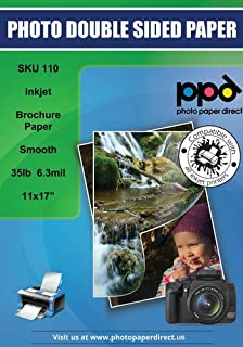 PPD Inkjet Matte Double Sided Ultra Smooth Brochure Flyer Paper 11x17'' 35lbs. 130gsm 6.3mil x 50 sheets (PPD110-50)