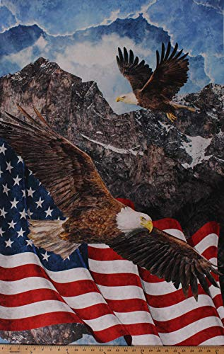 """28.5"""" X 44"""" Panel Eagle Mountain American Flag Bald Eagle USA Patriotic Stars & Stripes Forever Fourth of July Independence Day Cotton Fabric Panel (D583.57)"""