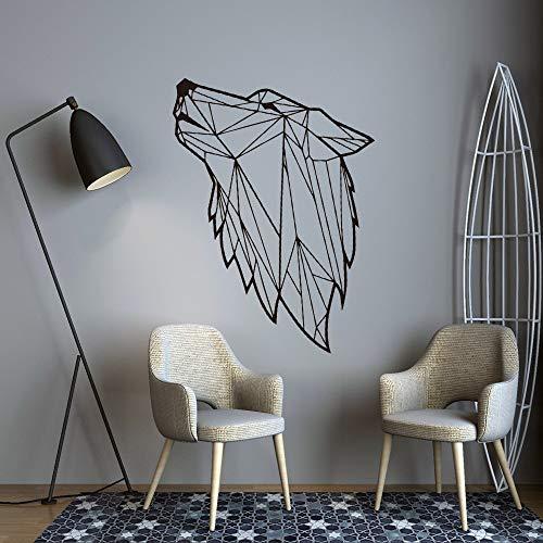 Estilo escandinavo lobo salvaje Animal cabeza arte línea geométrica vinilo arte calcomanía dormitorio sala de estar decoración pared pegatina Mural cartel papel tapiz