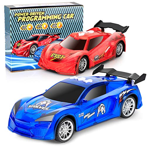 Toy Cars, 2 Pack Electric Race Car Toys with Flashing Lights Engine Sounds, Racing Model Car Sets...