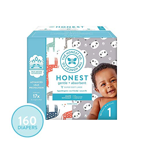 The Honest Company Super Club Box Diapers - Size 1 - Pandas & Safari Print | TrueAbsorb Technology | Plant-Derived Materials | Hypoallergenic | 160 Count