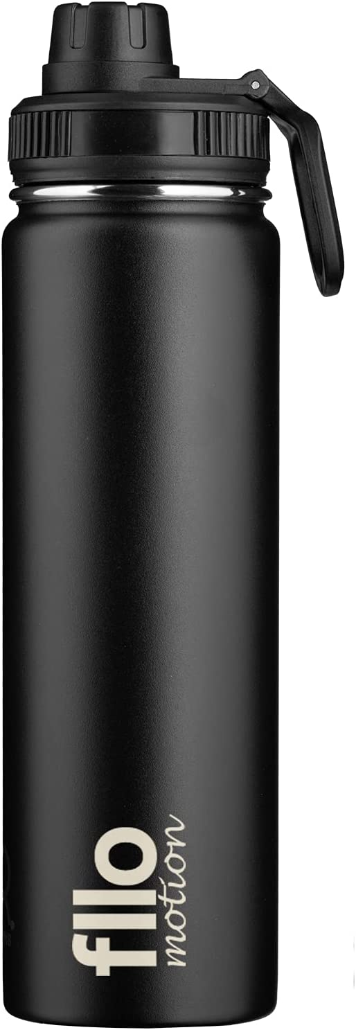FLLO MOTION 22oz Vacuum Insulated Water Bottle With Wide Mouth Dual Lid-Reusable Stainless Steel Vacuum Flask With Chug Lid (black)