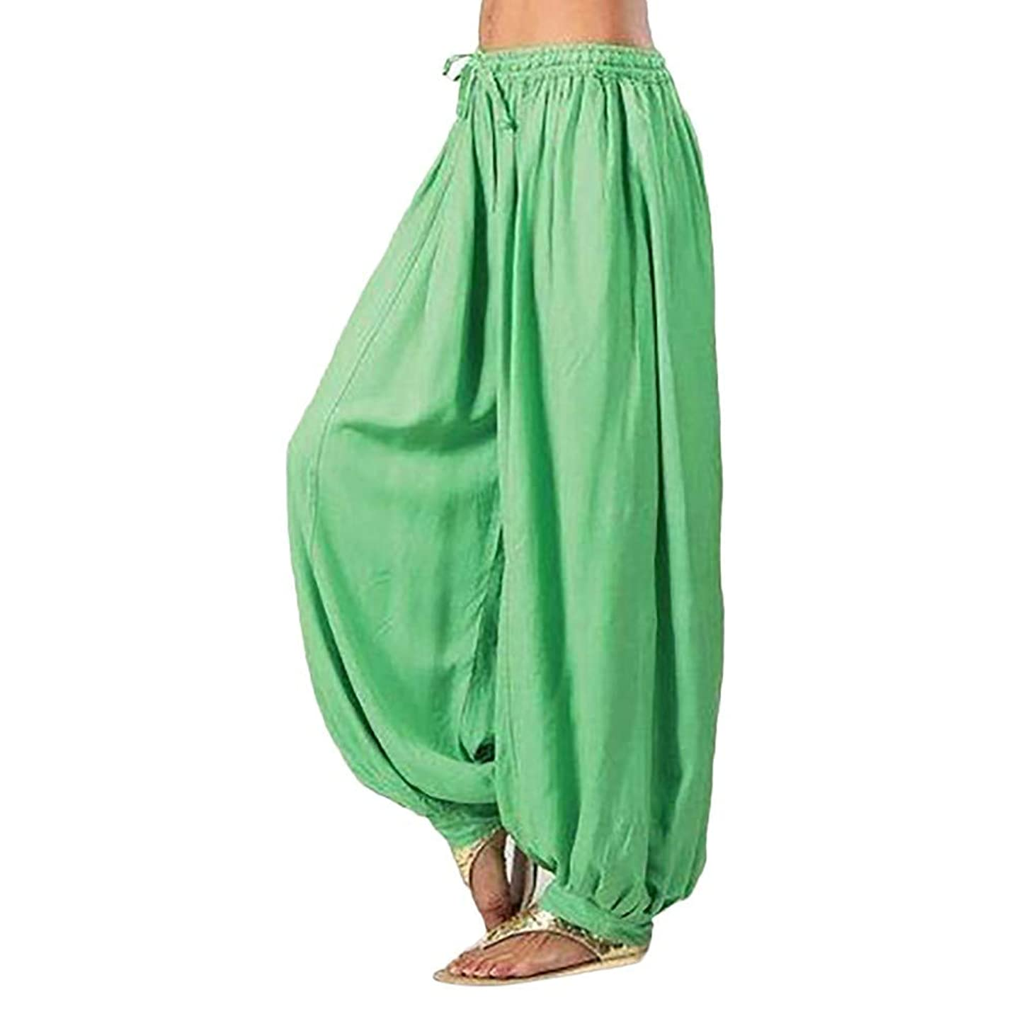 F_topbu Women's Casual Harem Pants Cotton Linen Baggy Pants with Elastic Waist Pleated Capri Trousers with Pockets