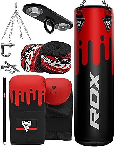 RDX Boxsack 8PC Set 4FT 5FT Gefüllt Bag Kickboxen MMA Muay Thai Boxen mit Deckenhaken Stahlkette Training Kampfsport Handschuhe Schwer Punchingsäcke Gewicht Punching (MEHRWEG)