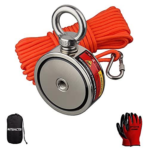MUTUACTOR Combiné de puissants aimants de pêche avec une force de traction de 320kg,un aimant de récupération en néodyme N52 avec une corde durable de 20 m,pour la pêche et la récupération magnétique