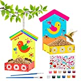 Wooden Arts and Crafts for Kids, 2-Pack Make Your Own Bird Feeder Painting Kit with Diamond Stickers, Educational Fun Kids Craft for Girls Boys Age 3-5 4-8 8-12, Welcome Birdies to Your Yard