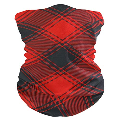 Stoff-Gesichtsmaske für Damen, multifunktional, Bandana, Schnittmuster, Unisex, Rot / Schwarz, Twill