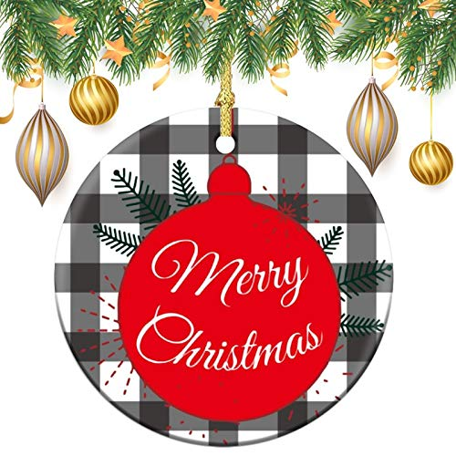 Adornos de retales a cuadros, de 7,6 cm, de cerámica, para árbol de Navidad, decoración de árbol de Navidad, colgantes para amigos, cuarentena familiar, Navidad, Año Nuevo Invierno