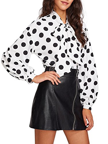 Floerns Women's Bow Tied Neck Lantern Long Sleeve Polka Dot Blouse White L
