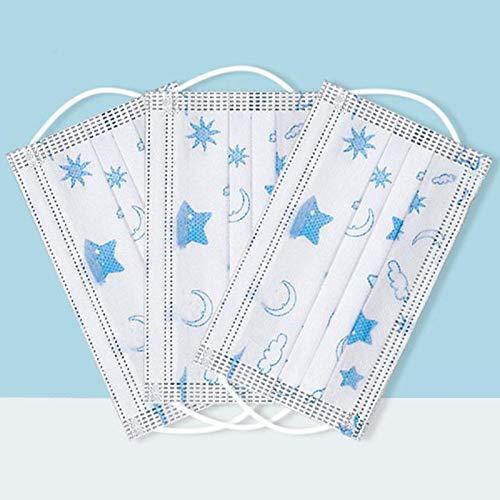 Tianfu 50pcs Einweg Kinder Gesicht Abdeckung 3-lagig Nasenknochen Vliesschutz Verhindern Staub Kein Papiertuch Stern und Moos Muster Blau
