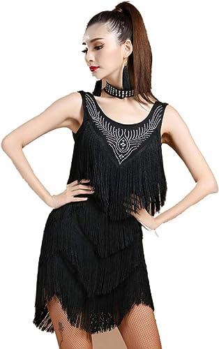 YZLL Costumes De Danse Latine, Danse De Salon, Robe Pompon VêTements Jupe Costume Costume Salsa,noir,XL