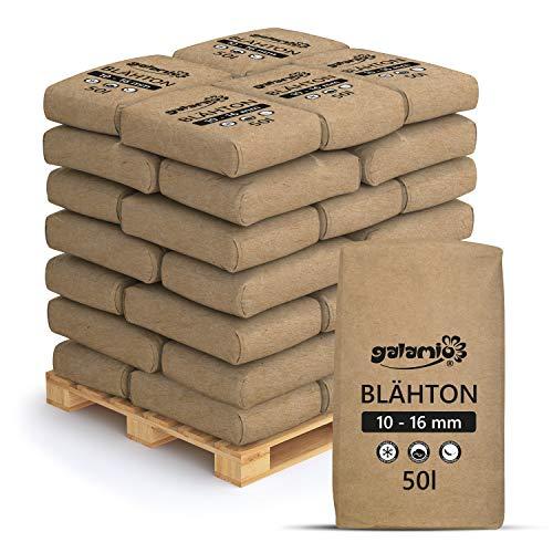 PALIGO Blähton Keramsit Pflanz Granulat Ton Steine Lava Mulch Drainage Hydro Kultur Substrat Trocken Schüttung Dämmung Mittel 10-16mm 50l x 39 Sack 1.950l / 1 Palette Galamio