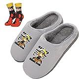 Hombres Pantuflas Niños Zapatillas Cosplay Anime Japonés para NARUTO Uzumaki Naruto con Calcetín Mujeres Slippers para Interiores y Exteriores Zapatos antideslizantes para Casa,Amarillo,44/45 EU 29cm