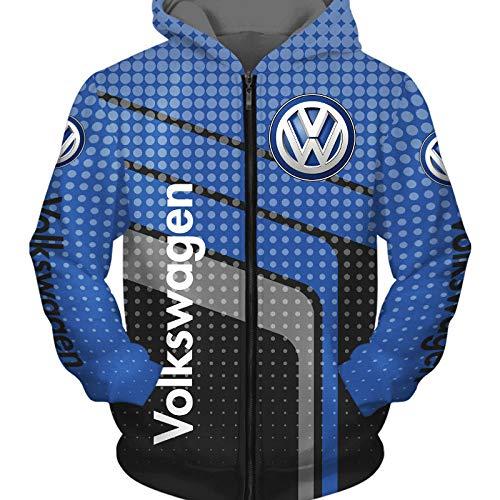 NISHUSHANW 3D Drucken Hoodies,Jacke Leicht Sweatshirt Zum Volkswagen Unisex Herren Beiläufig Sportkleidung Lose / D1 / L
