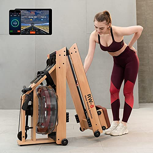 SNODE 2021 Wood Water Rowing Machine with APP, Foldable Rower Machine for Home Use with LCD Monitor, Water Resistance Wood Rower Exercise Machine, Soft Seat, Home Fitness Workout
