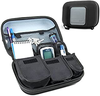 USA Gear Travel Medicine Organizer for Diabetic Supplies - Omnipod, Glucose Monitoring System, Syringes, Insulin Vials and Lancets - Compatible with ACCU-CHEK, Bayer Contour, TRUEtest - Black