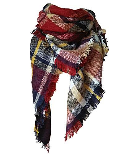 Qupish Plaid Blanket Winter Scarfs for Women Soft...