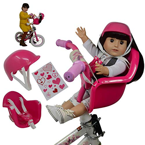 The New York Doll Collection Doll Bike Seat Carrier for Baby Dolls & American Girl Dolls with Doll Helmet & Stickers. No Tools Required Bicycle & Scooters Seat Accessories for Dolls, Pink