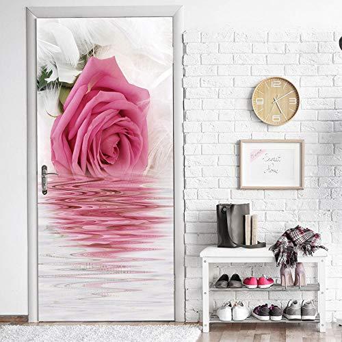 JIANXIQT deurstickers voor binnendeuren, citaat muursticker plant roos reflectie in het water 3D badkamer deur sticker Vinyl Pvc waterdichte Scandinavische kunst stickers voor klas slaapkamer muurschildering 90x200cm
