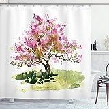 ABAKUHAUS Giapponese Tenda da Doccia, Acquerello Sakura Foglie, Tessuto Set di Decorazioni...