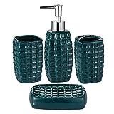 JOTOM Juego de 4 Accesorios de Baño de Cerámica con Diseño Moderno (Verde Oscuro)