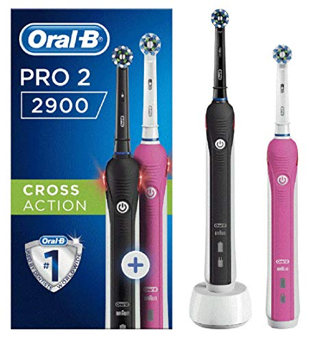 Oral-B Pro 2 2900 Set of 2 CrossAction Electric Rechargeable Toothbrushes, 1 Black and 1 Pink Handle, 2 Modes: Daily Clean and Sensitive, Gum Pressure Sensor, 2 Toothbrush Heads, 2 Pin UK Plug