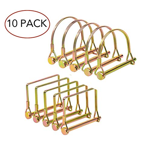 10 Pieces Heavy Duty Shaft Locking Pin, Safety Trailer Coupler Pin 1/4 Inch Diameter in 2 Shapes of Square and Arch (Gold)