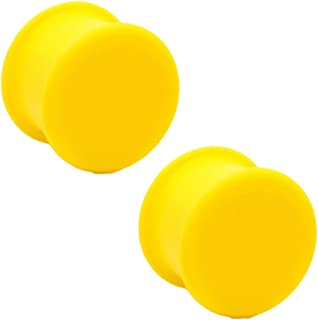 Pair of Yellow Silicone Solid Front Plugs