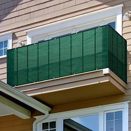 Privacidad de Balcón y Pantallas Protectoras, Pantalla para Balcón Jardín Protección de Privacidad HDPE, Resistente Al Viento y Al Agua Transpirable, Verde, 100 cm Altura,1x3m