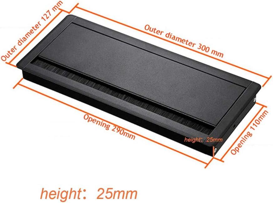 passacavi con spazzola Passacavo rettangolare da scrivania previene il rumore per tutti i tipi di scrivanie tavoli da conferenza realizzato in lega di alluminio