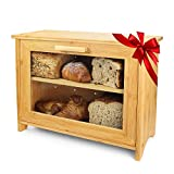 Gorgeous Style Meets Smart Innovation: This bread box for kitchen countertop is as brilliantly designed as it is beautiful, with an adjustable shelf that transforms into a bread serving tray, a soggy-bread-saving arched bottom that lets spills slide ...