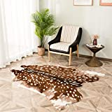 Faux Cowhide Area Rug, Sika Deer Print Hide Rug Faux Fur Animals Mat Carpet for Home,Livingroom (3.3x3ft)