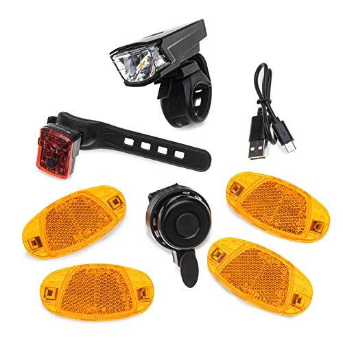 OLLO StVZO Set (Basic) Fahrrad StVZO Nachrüst-Set - Fahrradbeleuchtung LED Set (USB), Speichenreflektoren, Fahrradklingel