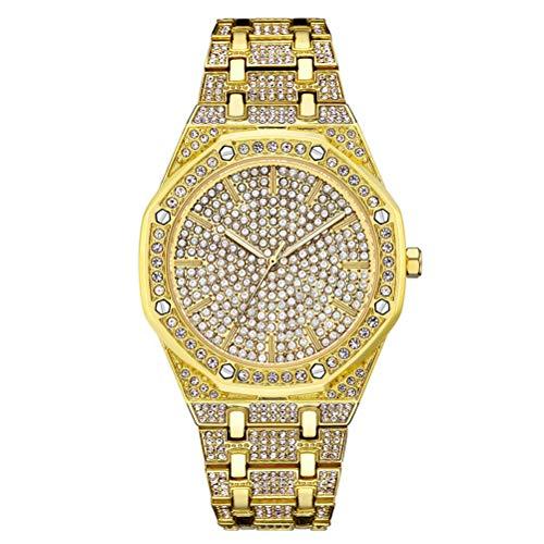 Reloj Hip Hop Diamantes Hombre Reloj de Pulsera con Movimiento de Cuarzo y Reloj de Pulsera de Diamantes CZ de Oro