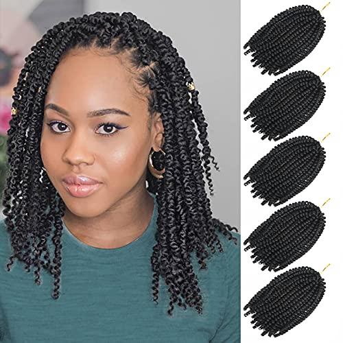 5 Packs Spring Twist Hair 8 Inch Fluffy Spring Twists Bomb Twist Hair Synthetic Fiber Fluffy Passion Twist Crochet Braids Low Temperature for Black Women Braiding Crochet Hair (1B)