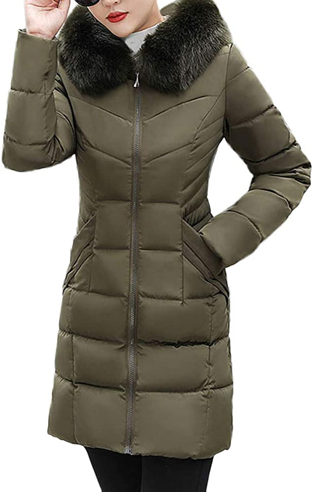 GREFER Fashion Women Long Jacket Winter Thick Slim Warm Coat Faux Fur Hooded Down Padded Parka Overcoat