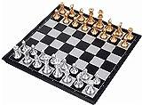 DJRH Junta de Juego de ajedrez para, Juego de ajedrez de Viaje con Tablero de ajedrez Plegable para niños y Adultos Checkers Backgammon International Chess Board Games Set