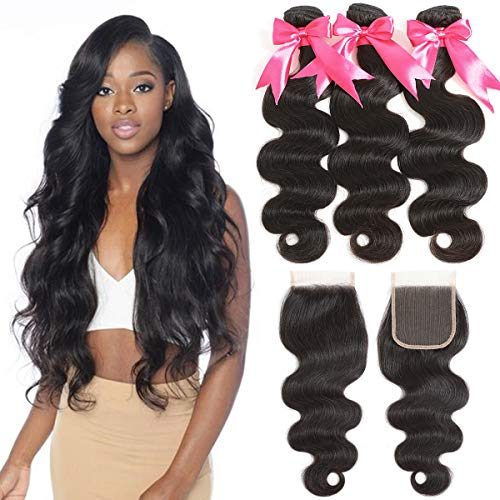 TT HAIR Brazilian Body Wave 3 Bundles With Swiss Lace Closure 9A Best Quality Virgin Hair for Black Women (8 10 12+8)