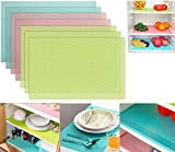 7pcs Refrigerator Mats Liners for Shelf, EVA Shelf Easy to Clean Liner Waterproof Placemats for Cuttable Kitchen Cabinet Shelves Mat Non Adhesive Drawer Table Placemat 11.4 X 17.7 Inch