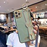 DNZJHHM Moda Muchacha Carcasa de telefono Enchapado Caso con Acollador Correa Silicona Suave Contraportada de la Caja del teléfono Lindo for iPhone 11 Pro MAX XS MAX XR 6S 7 8 Plus 12 Mini MAX