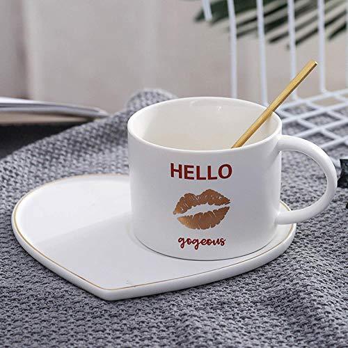 Tazza Boccale Mug Tazzine Gli Amanti della Tazza di caffè in Ceramica Creativa Tazza di caffè A Forma di Cuore con Cucchiaio Dorato Tumbler Tazze da caffè per Set di Tazze da Acqua per Latte Regalo,
